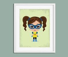 Nursery Prints, Superhero Girl, Girls Bedroom, Superhero Nursery, Superhero Poster, Superhero Wall Art, Superhero Print, Female Superhero