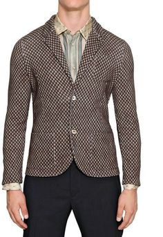 Cotton Knit Patterned Blazer - Lyst
