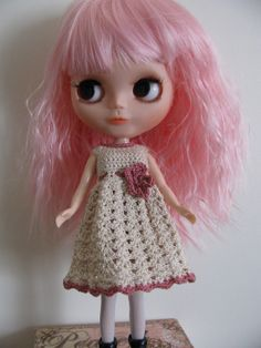 Doll Clothes Crochet Dress for Blythe Momoko by toyestinytreasures, $12.00