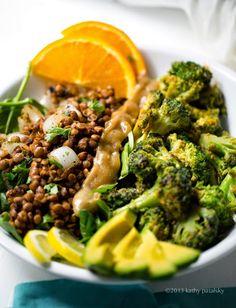 Savory Miso Broccoli   Spiced Lentil Power Plate! Vegan Fast Food.