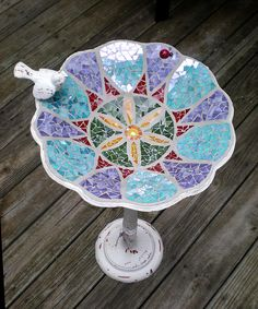mosaic bird bath by artsyphartsy (Kathleen), via Flickr