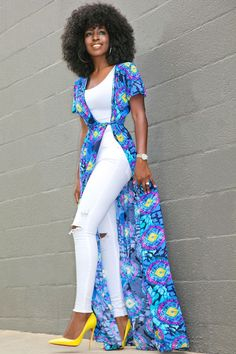 Duster Dress + Tank + Ripped Jeans | Style Pantry | Bloglovin' African Print Dresses, African Dress, Classy Outfits, Chic Outfits, Modest Fashion, Fashion Dresses, Ripped Jeans Style, Duster Dress, Look Fashion