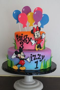 Mickey and Minnie Cake - I was asked to feature Mickey and Minnie but not to make the cake themed. Just to keep it bright for summer
