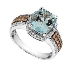 Aquamarine and Chocolate Diamond Ring