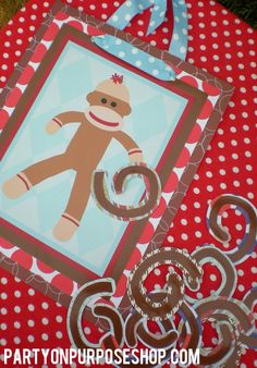 Sock Monkey Birthday Party Game - Pin the Tail on the Monkey on Etsy, $35.00