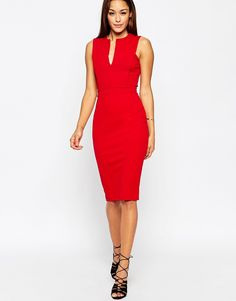 ASOS Pencil Dress with Plunge Neckline