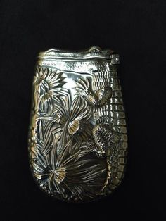 Rare Antique Sterling Silver Match Safe Vesta Case Alligator