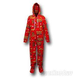 Wonder Woman Logos Footed Hooded Pajamas Comic Clothes 93e047c88