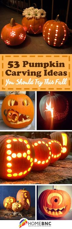 53 Creative pumpkin carving ideas to try in this case - Halloween Halloween Tags, Halloween Pumpkin Designs, Holidays Halloween, Halloween Pumpkins, Halloween Crafts, Halloween Decorations, Thanksgiving Crafts, Holiday Crafts, Holiday Fun