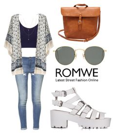 """ROMWE tribal print kimono"" by tania-alves ❤ liked on Polyvore featuring Zara, Miss Selfridge, Ray-Ban and Jennifer Zeuner"