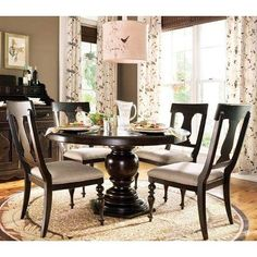 Paula Deen Home 5 Piece Round Pedestal Dining Table Set - Tobacco - with Paula Chairs - UNIR1301-1