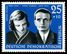 sophie scholl white rose movement   Post-war German stamps depicting the Scholls