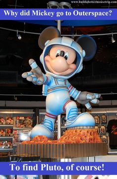 Silly Disney Joke - Q: Why did Mickey go into outerspace? /  A: To find Pluto!   This Mickey Mouse statue is from the Mission Space gift shop #DisneyWorld