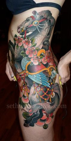 Seth Wood » Jamie's carousel horse.  Made at Saved Tattoo,...