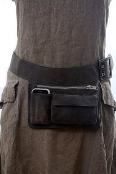 Gray Leather Hip Bag bum bag fanny pack travel pouch by Aviveruty Leather Utility Belt, Leather Fanny Pack, Leather Projects, Grey Leather, Leather Jacket, Leather Bags, Leather Working, Purses And Bags, Messenger Bag