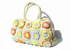 Flower crochet handbag crochet bag in bright summer by zolayka, $95.00 So sweet!