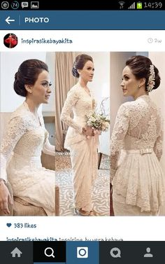 Cheap wedding dress gothic, Buy Quality wedding dress color directly from China wedding programme Suppliers: Other dresses you may like: elegant lace wedding dresses ankle length 2014 with long sleeves sheer l Vera Kebaya, Kebaya Lace, Kebaya Dress, Kebaya Hijab, Couture Wedding Gowns, Dream Wedding Dresses, Bridal Dresses, Lace Wedding, Kebaya Wedding