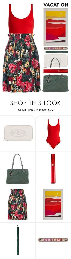 """beach please"" by foundlostme ❤ liked on Polyvore featuring Louis Vuitton, Solid & Striped, Chanel, Armani Beauty, Sonia Rykiel, NOVICA, Chantecaille, Rebecca Minkoff and TropicalVacation"