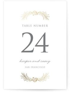 """""""Gilded Laurels"""" - Customizable Foil-pressed Wedding Table Numbers in Gold by Smudge Design. Wedding Table Numbers, Front Design, Smudging, Tablescapes, Wedding Invitations, Place Card Holders, Text Photo, Prints, Names"""