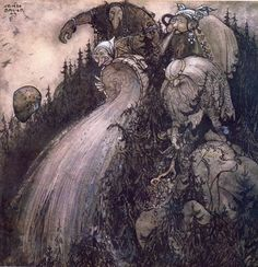 """Herr Birre och Trollen"" tale, from ""Bland Tomtar och Troll"" illustrated by John Bauer John Bauer, Arthur Rackham, Blade Runner, Legends And Myths, 17th Century Art, Fair Isles, Vernacular Architecture, Fairytale Art, Looks Cool"