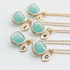 Elegant and on-trend, Turquoise Drop Necklace; with a beautiful freshwater pearl and initial monogram in 18k Gold leaf. Limited Quantity. Custom Monogram. Beautifully Gift-Boxed.