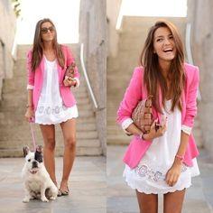 pink blazer and white cotton