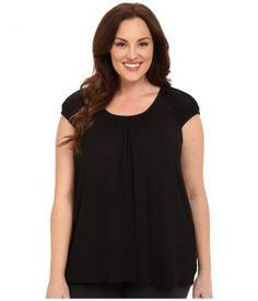 DKNY Plus Size Urban Essentials Short Sleeve Top (Black 2) Women's Pajama