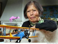 Maggie Gee with a scale model of a Stearman bi-plane at her home in Berkeley, Calif. on Saturday, Sept. 22, 2007. Gee was a civilian flight instructor for the Women's Airforce Service Pilots (WASP) and trained pilots during WWII using the Stearman.. Photo by Paul Chinn. Story at click
