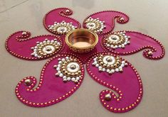 pink red or purple Kundan Rangoli Mandala decor Table by CozMHappy