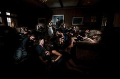 Matt Shumate Photography at Bozarth Mansion staged wedding party photo looks like a crime scene dvd cover movie cinematic