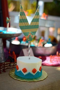 Cool arrow cake at a cowboys & Indians birthday party! See more party planning ideas at CatchMyParty.com!