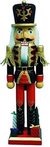 Christmas Nutcracker Figure Soldier Black And Red With Gifts Rhinestone Details Gold Sparkle 15 Inch Exclusive Design * See this great product.