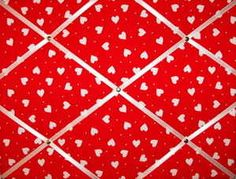 Medium Red & White Heart Hand Crafted Fabric Notice / Pin / Memo Board