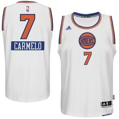 New York Knicks Carmelo Anthony adidas White 2014-15 Christmas Day Swingman Home Jersey