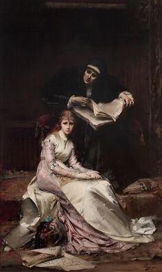 Le Coeur S'Éveille (Awakening of the Heart) (1880). Anatole Vély (French, 1838-1882). Oil on canvas. Lawrence Steigrad Fine Art. Set in a castle a young Princess sits spellbound at the feet of her grandmother the Queen who has momentarily paused in...