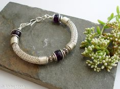 Torcesque - Amethyst and Silver bracelet - Sterling Silver and Amethyst