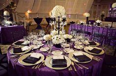 Romantic Royal Purple, Black and White Wedding Reception Dinner Table