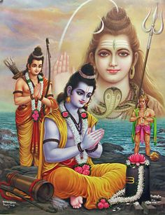 Rama Propitiates Shiva for His Blessings to Defeat Ravana - Hindu Posters (Reprint on Glazed Paper - Unframed) Lord Rama Images, Lord Shiva Hd Images, Lord Vishnu Wallpapers, Shiva Parvati Images, Hanuman Images, Shiva Linga, Mahakal Shiva, Shiva Statue, Shiva Art