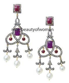 Art Nouveau 4.76c Pave Rose Cut Diamond Pearl Amethyst Silver Dangler Chandelier #realbeautyofwoan #EarringsChandelier