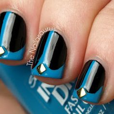 Black and Blue Whale Tail Nail