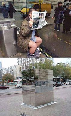 Public Bathroom Made Of Mirrors (bentham panopticon)