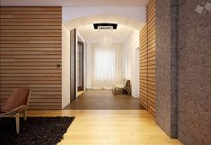 Home Design, Modern Wood Clad Interior Wooden Wall Flooring Black Rugs  Brown Wall White Door Decorative Lights Curtain Window Lounge Chairs ~ Cool  Loft Home ...