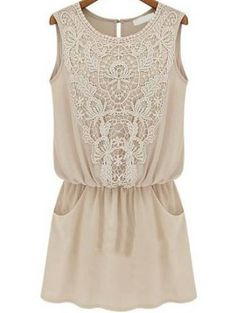 Apricot Sleeveless Lace Slim Chiffon Dress US$23.88