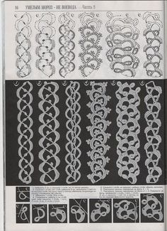 Crochet lace tape or ribbon (narrow) with diferent motifs Delicate straps, ribbons and cords elements Bracelet Crochet, Crochet Cord, Crochet Lace Edging, Crochet Borders, Crochet Diagram, Crochet Stitches Patterns, Tatting Patterns, Freeform Crochet, Crochet Squares