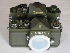 Olive drab Canon F-1 and Nikon F