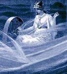 Frigg, Norse Goddess of the sky, marriage, motherhood, love, fertility, and the domestic arts.  She is the patron Goddess of spinners and weavers, and she spins the clouds in the sky.