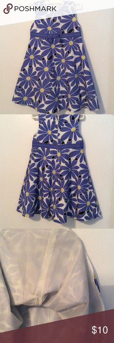 Darling Little Girls Dress Flower Power Sleeveless Dress in Cornflower Blue, Yellow, White and Black.  Cool and Breezy fully lined-back zipper. From Gymboree. Gymboree Dresses