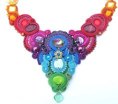 OOAK Colorful Soutache Necklace Charm Glamour by IncrediblesTN
