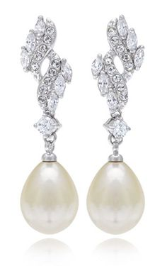 Cubic Zirconia Teardrop 12mm Simulated Pearl Bridal Earrings Rhodium Plated Best Ing Earring Visit The Image Link More Details