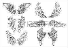 Heraldic wings set for tattoo or mascot design - 123rf